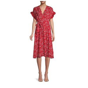 Max Studio Red Floral Dress L